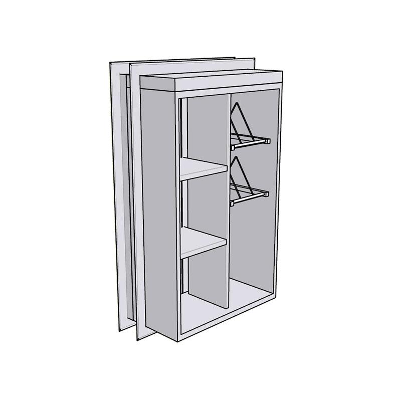 Rustfritt gjennomgående bekken/ oppbevaringsskap med dører på begge sider